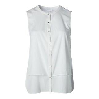Calvin Klein Womens Solid Sleeveless Button-Down Top