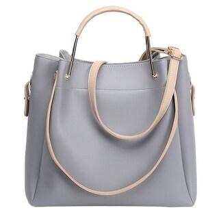 QZUnique Women's PU Leather 2 Pieces Set Shopping Bags Casual Haversack Tote Handbag Shoulder-bag