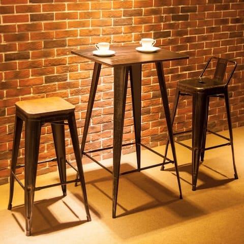 "Bar Table Metal Rectangular in Antique Black - 23.6 ""L x 23.6""W x 41.3""H"