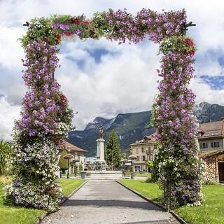 Costway Garden Wedding Rose Arch Pergola Archway Flowers Climbing Plants Trellis Metal - Black