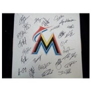 Signed Marlins Miami 2012 Replica Base by the 2012 Miami Marlins Team autographed