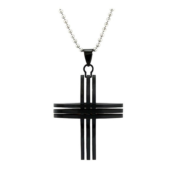 Black Plated Stainless Steel Men's Cross Pendant on 22 Inch Bead Chain
