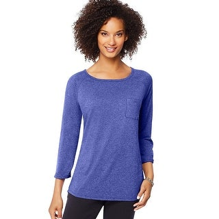 Hanes Women's Fashion Essentials Raglan Pocket Tee - Size - M - Color - Out Of The Blue Heather
