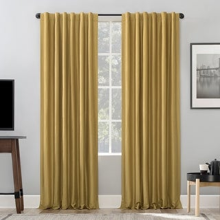 Link to Sun Zero Evelina Faux Dupioni Silk Thermal Extreme Total Blackout Back Tab Curtain Panel Similar Items in As Is