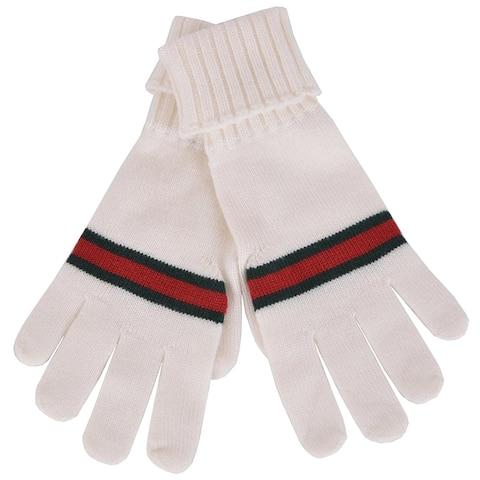 Gucci Unisex White Wool GRG Web Gloves 294732 9066