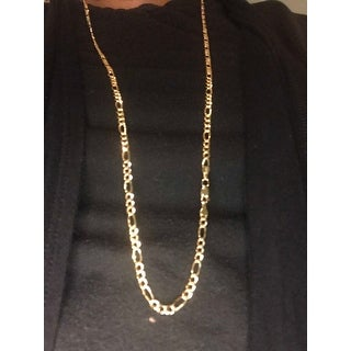 14k Yellow Gold-filled Solid Figaro Link Chain Necklace
