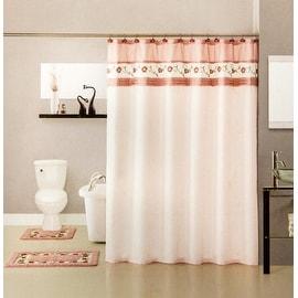 Super Soft Floral Bath Mat 15pc set - Shower Curtain, Hooks, Countour & Bath Mat
