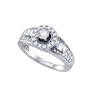 14k White Gold Round Diamond Solitaire Halo-style Womens Bridal Wedding Engagement Ring 1.00 Cttw