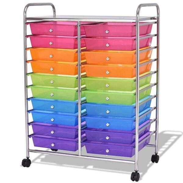 Mutli Color 20 Drawers Studio Storage Rolling Cart