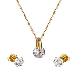 Solitaire Cubic Zironia Earrings Gold Tone Stainless Steel Pendant Free Necklace