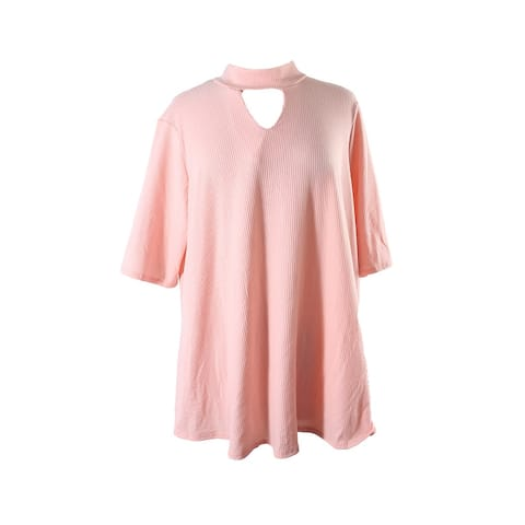 Ny Collection Plus Size Peach Mock-Neck Keyhole Top 3X