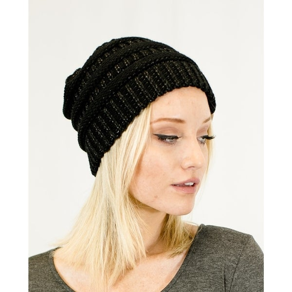 Shop Unisex Two Toned Metallic Soft Stretch Knit Slouchy Beanie - On ... 19760c56743
