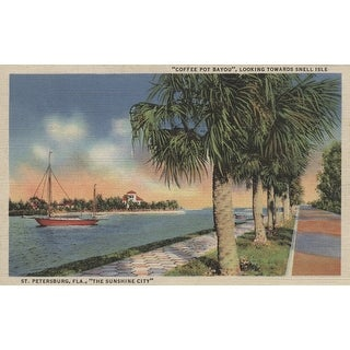 St. Petersburg, Forida - View of Coffee Pot Bayou & Isle - Vintage Halftone (Poker Playing Cards Deck)