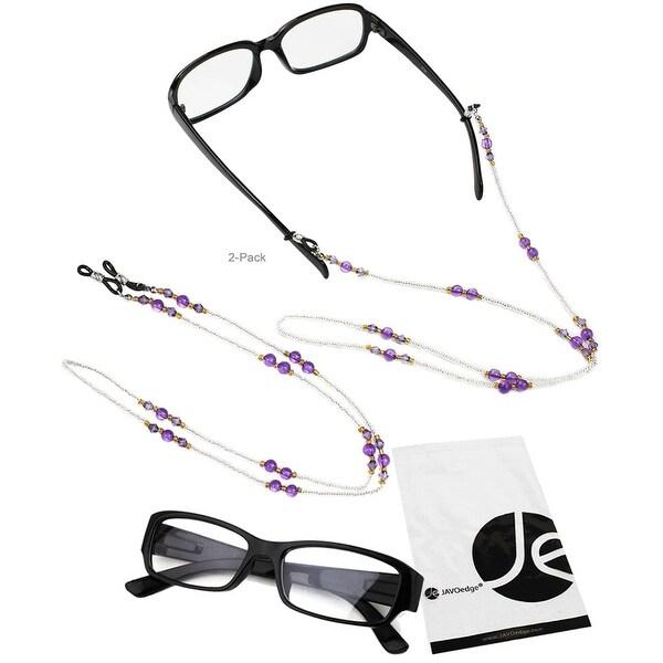 JAVOedge 2 Pack of Purple Beaded Decorative Eyeglasses/ Glasses Lanyards / Neck Chain