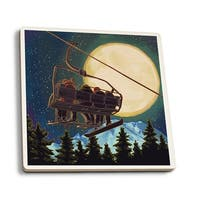 Ski Lift and Full Moon w/ Snowboarder - LP Artwork (Set of 4 Ceramic Coasters)