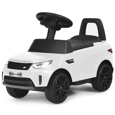 2-in-1 6V Land Rover Licensed Kids Ride On Car-White - White