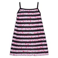 Lipstik Little Girls Black Trim Stripe Pink Heart Printed Sleeveless Top 4
