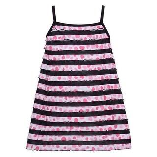 Lipstik Little Girls Black Trim Stripe Pink Heart Printed Sleeveless Top 4