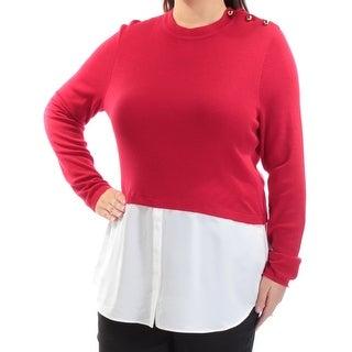 RALPH LAUREN $145 Womens New 1468 Red Jewel Neck Long Sleeve Casual Top XL B+B