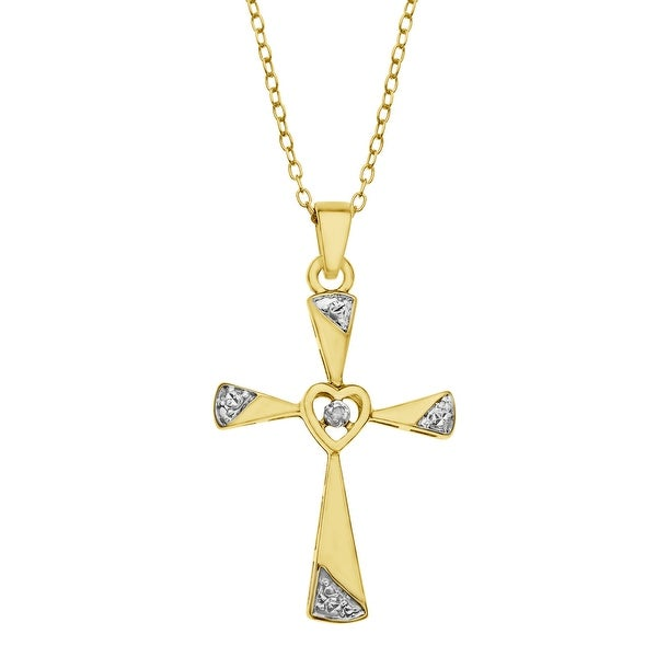 Cross Pendant with Diamond in 18K Gold-Plated Sterling Silver