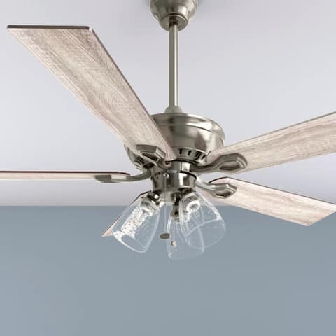 The Gray Barn Grumio Antique Pewter 52-inch Ceiling Fan with 5 Barnwood Blades
