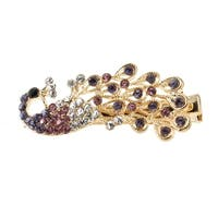 Unique Bargains Women Banquet Glittery Rhinestone Peacock Barrette Hair Clip Blue Purple