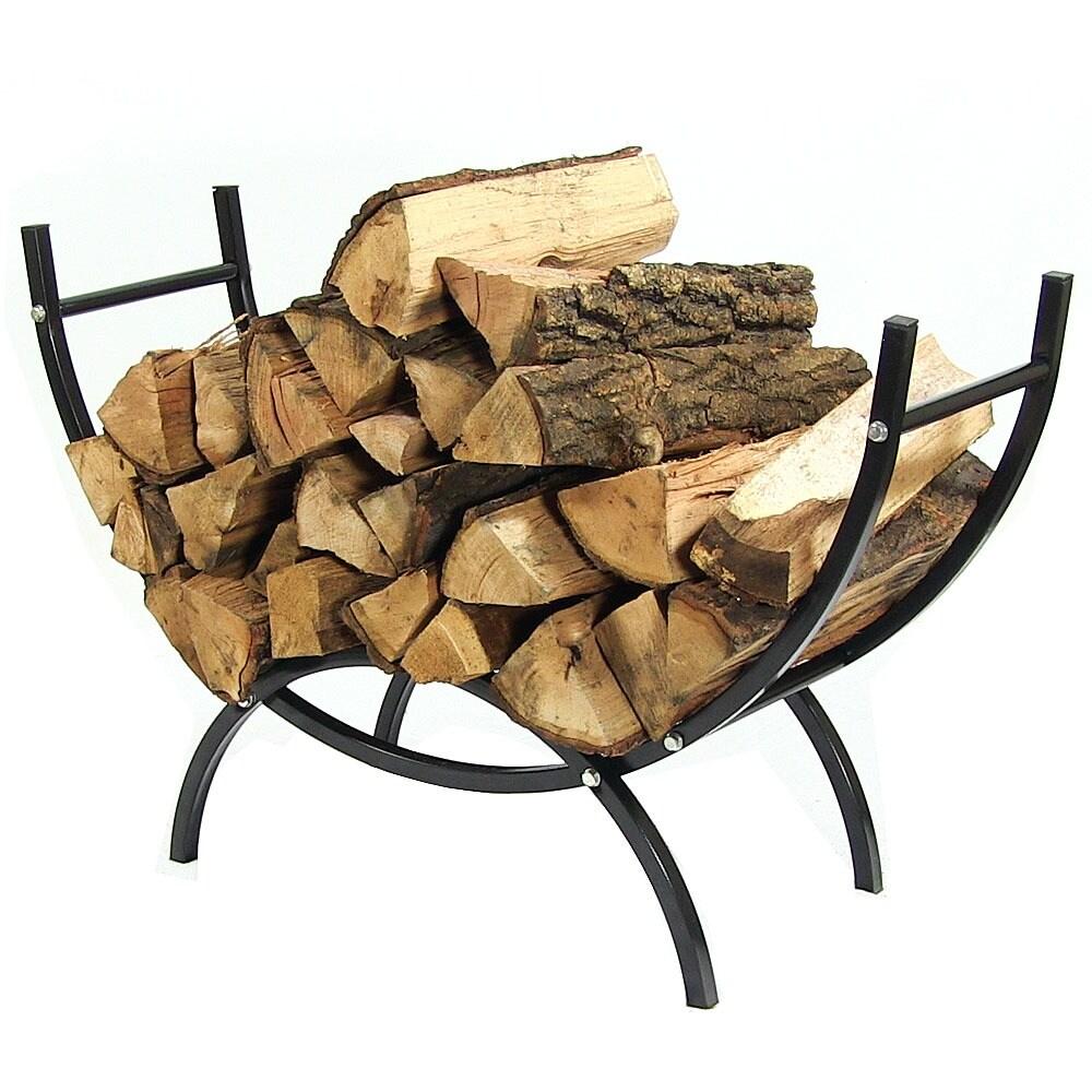 Sunnydaze Curved Firewood Log Rack - Options Available - Black - Thumbnail 4