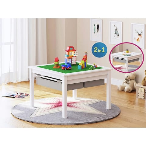 UTEX-2 in 1 Kids Activity Lego Table with Storage and Drawes