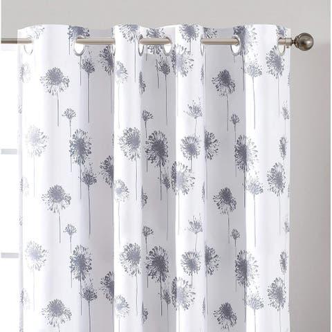 "DriftAway Dandelion Floral Botanic Lined Grommet Window Curtains - 52"" width x 63 "" length - 52"" width x 63 "" length"