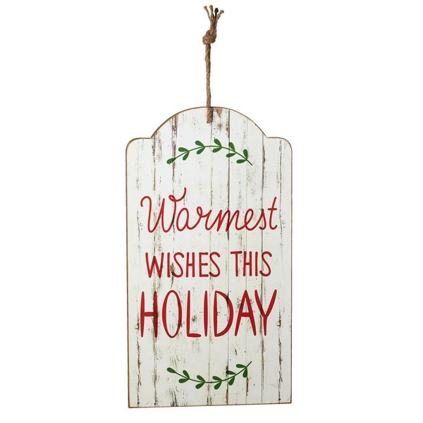 "Set of 2 Green and Red ""Warmest Wishes"" Tag Wall Decor with Rope 18"""