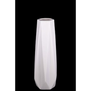Geometric Pattern Ceramic Vase With 3D Appeal, Small, White