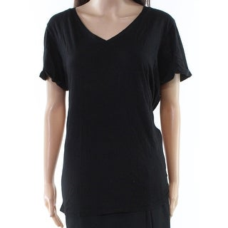 LA Made Deep Black Womens Size Large L Solid Stretch V-Neck Top