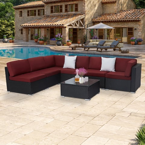 Kinbor 7-Piece Outdoor Wicker Sofa, All-Weather Sectional Sofa Bistro Set w/ Cushions & Coffee Table Wine Red