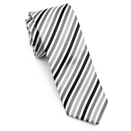 Men's Black and White Striped Tie