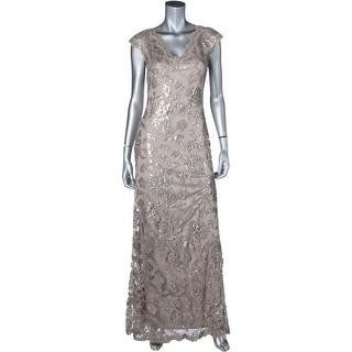 Tadashi Shoji Womens Evening Dress Lace Sequined
