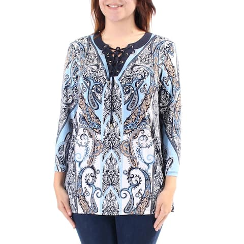 CHARTER CLUB Womens Blue Tie Paisley 3/4 Sleeve V Neck Top Size: S