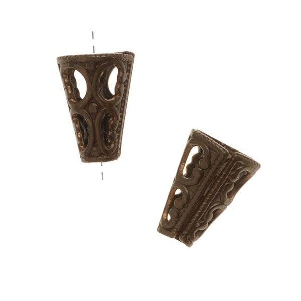 Vintaj Natural Brass Filigree Cone End Caps For Beads (2)