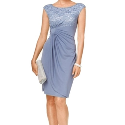 51629f25dfd Shop Connected Apparel NEW Slate Blue Lace Sequin 8P Petite Sheath Dress -  Free Shipping On Orders Over  45 - Overstock - 17857109