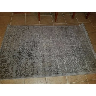 Nourison Graphic Illusions Grey Antique Damask Pattern Rug (3'6 x 5'6)