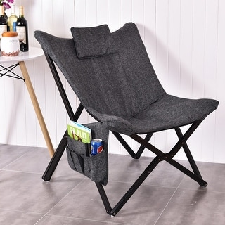 Costway Folding Butterfly Chair Seat Solid Black Wooden Frame Home Office Furniture