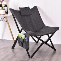 Costway Folding Butterfly Chair Seat Solid Black Wooden Frame Home Office Furniture - as pic