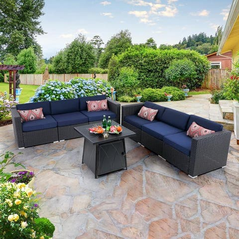 """PHI VILLA 6-Seater Patio Fire Pit sets: Table 28""""×28"""" 50,000BTU & Rattan Wicker Sectional Sofa"""