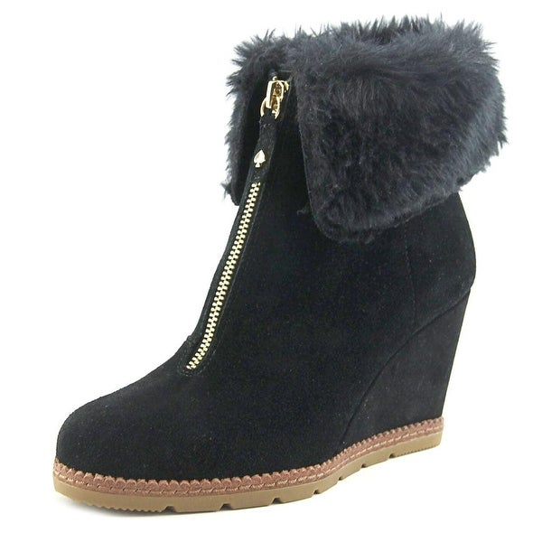 Kate Spade Stasia Women Round Toe Suede Black Ankle Boot