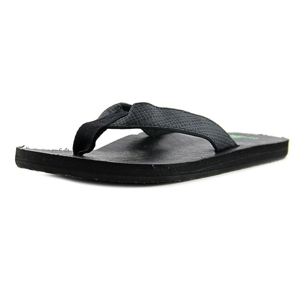 Sanuk Off The Grid Men Open Toe Canvas Black Flip Flop Sandal