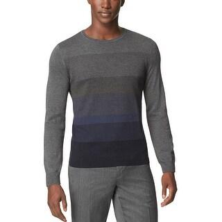 Calvin Klein CK Striped Crewneck Sweater Officer Navy Blue Combo