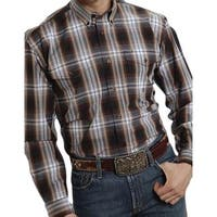 Roper Western Shirt Mens L/S Tall Button Brown