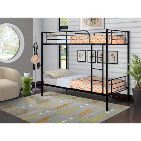 East West Furniture Danbury Twin Bunk Bed - Two Separate Metal Beds and Ladder with Three Steps and Guard Rails