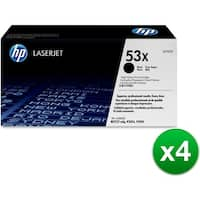 HP 53X High Yield Black Original LaserJet Toner Cartridges (Q7553X)(4-Pack)