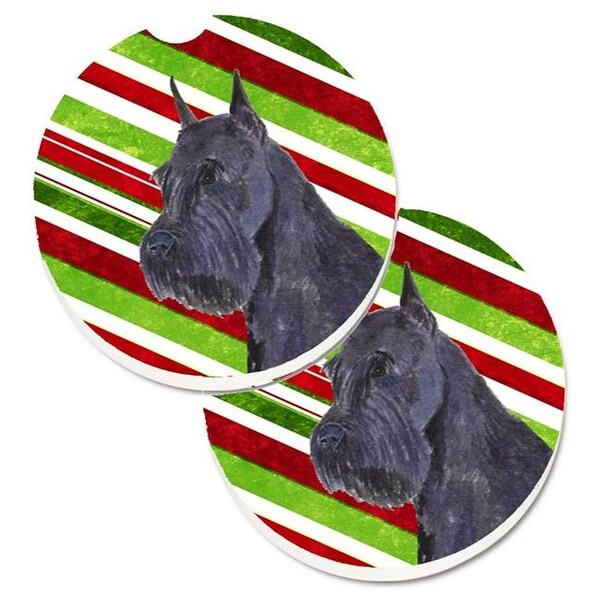 Shop Schnauzer Candy Cane Holiday Christmas Set Of 2 Cup Holder Car