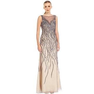 Basix Black Label Beaded Tulle Illusion Top Evening Gown Dress - 8